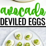 These party-ready avocado deviled eggs are an easy appetizer recipe for all get-togethers - St. Patrick's Day, summer barbecues or birthdays. #avocadorecipes #avocadodeviledeggs #deviledeggs #ketorecipes #appetizerrecipes