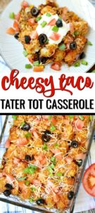 Cheesy Taco Tater Tot Casserole on kitchen towel with diced tomatoes and green chiles.
