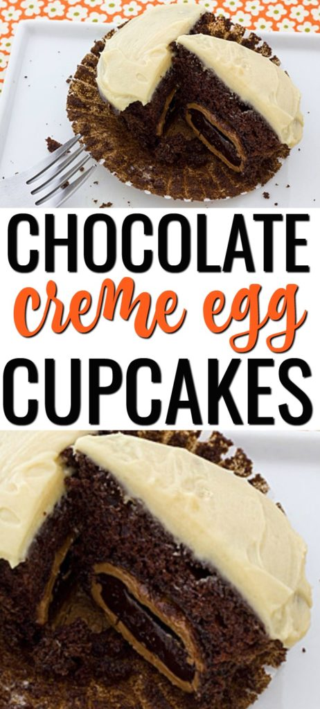 This Cadbury Chocolate Creme Egg Cupcakes with Salted Caramel Frosting recipe is a delicious dessert for Easter. Cadbury chocolate creme eggs are stuffed inside chocolate cupcakes and topped with a flavorful salted caramel frosting. #cadburyeggrecipes #cadburyeggcupcakes #chocolatecupcakes #chocolate #easterdesserts #buttercreamfrosting