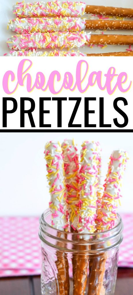 Need a fun, casual dessert idea for Easter? Try these white chocolate dipped pretzel rods rolled in sprinkles. They're fast, easy, and a crowd pleaser! #easterdesserts #easydesserts #pretzels #easyrecipes #foodforkids #eastersnacks