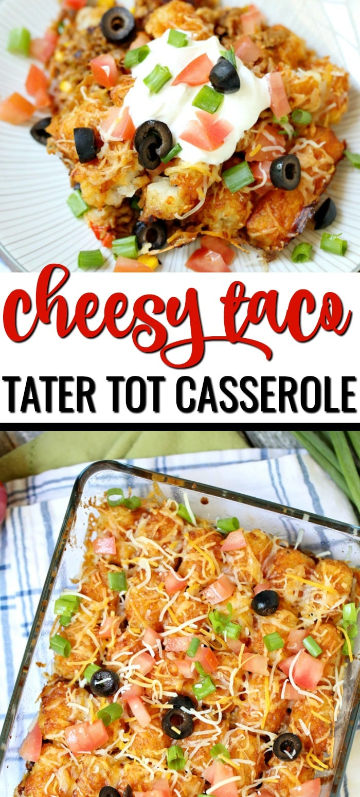 Cheesy Taco Tater Tot Casserole recipe topped with sour cream, diced tomatoes, black olives, and green onions.