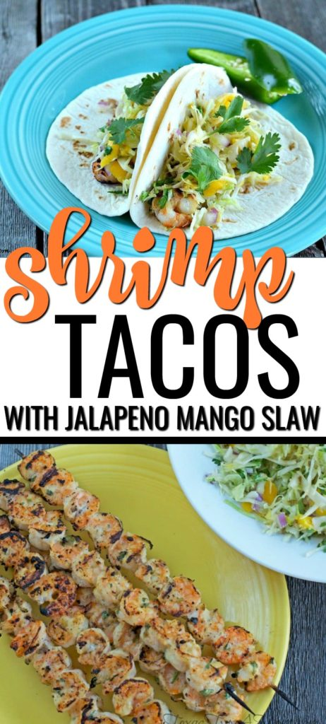 This grilled shrimp tacos with jalapeno mango cabbage slaw recipe is easy, fresh, and flavorful with just a touch of heat. Easy to make Mexican recipe that's perfect for weeknights or Cinco De Mayo! #mexicanfood #mexicanrecipes #shrimptacos #shrimprecipes #grilledshrimp #tacosrecipe #tacotuesday #cabbageslaw