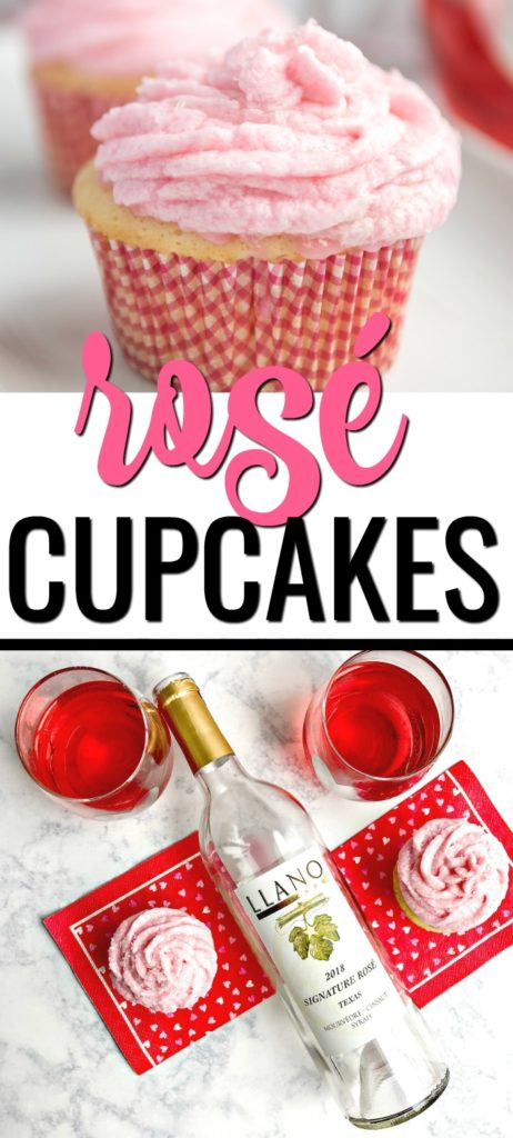 Make an impression with these Rosé Cupcakes with Rosé Buttercream Frosting! This is an easy wine dessert for girls night out and is so easy. These boozy cupcakes are the ultimate in boxed cake hacks. #wine #winerecipes #dessertswithwine #cupcakerecipes #rosécupcakes #boozycupcakes #boozydesserts