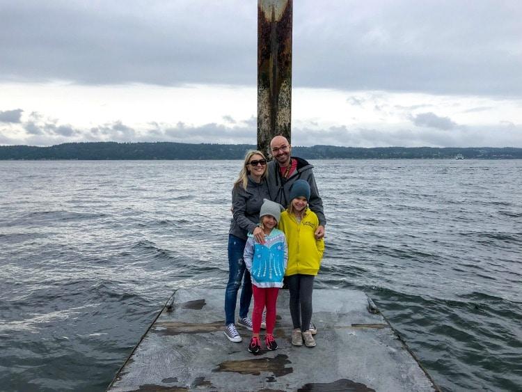 Family on dock outside the Mulkiteo Lighthouse.