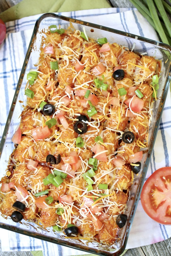 Cheesy Taco Tater Tot Casserole with ground beef recipe