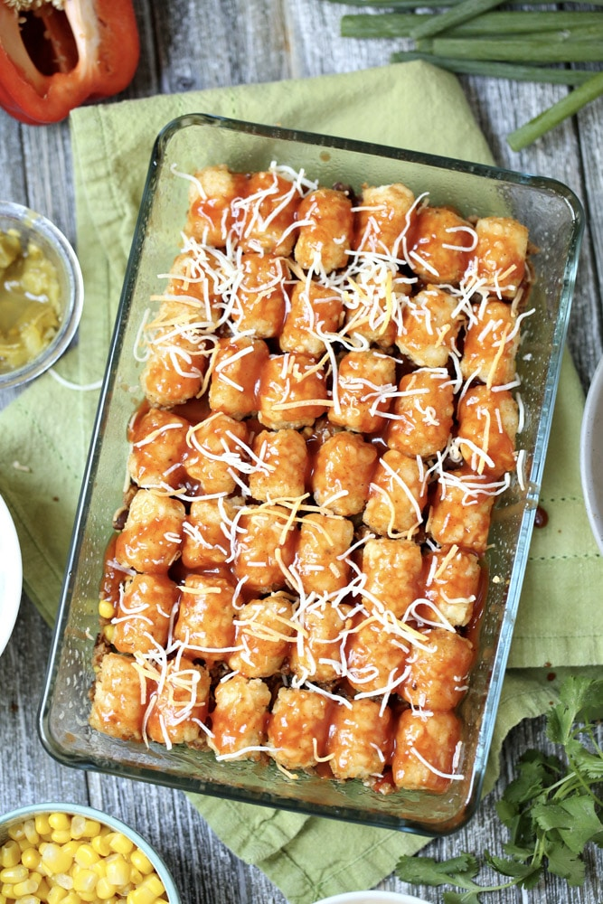 Single layer tater tot casserole in baking dish.