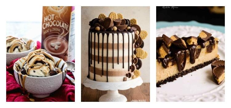 Peanut butter cake recipe collage.