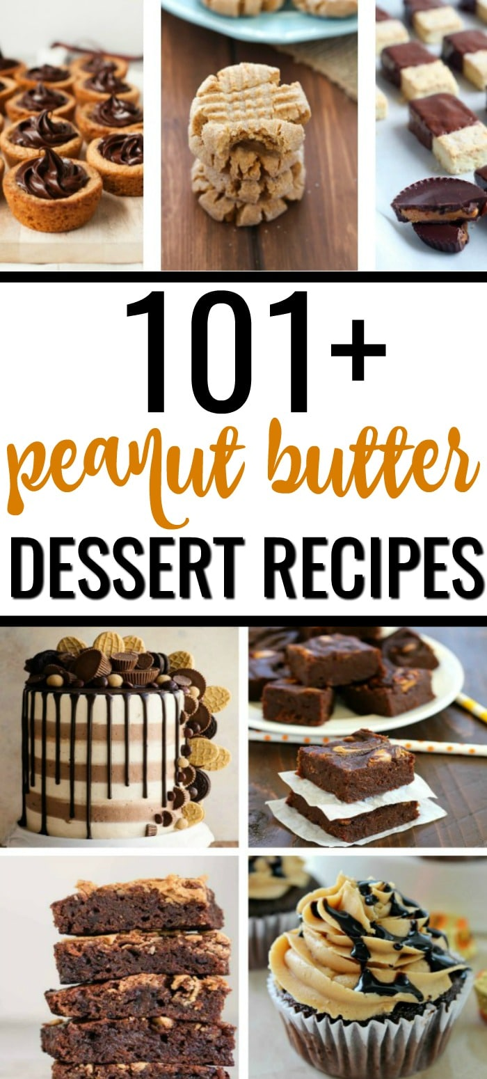 Love peanut butter? This is the ultimate guide to 101+ of the best peanut butter desserts on the internet! It's like a mini-cookbook for peanut butter with everything from peanut butter cookies and fudge to peanut butter pie and cupcakes. #peanutbutter #peanutbuttercookies #peanutbutterballs #peanutbutterfudge #desserts #cupcakes #cakes