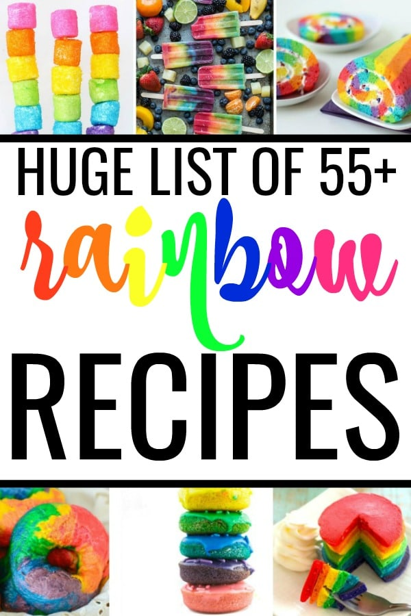 Looking for rainbow birthday party ideas? Or, just enjoy colorful food? Eating is more fun with these rainbow recipes from dinner to dessert! #rainbowcake #rainbowrecipes #rainbowcupcakes #rainbowbirthday #rainbowcookies #rainbowfood