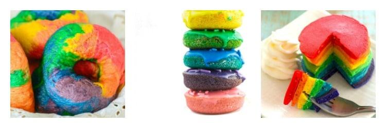 Rainbow breakfast foods: bagels, donuts, and pancakes.