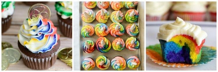 Rainbow birthday party cupcakes.