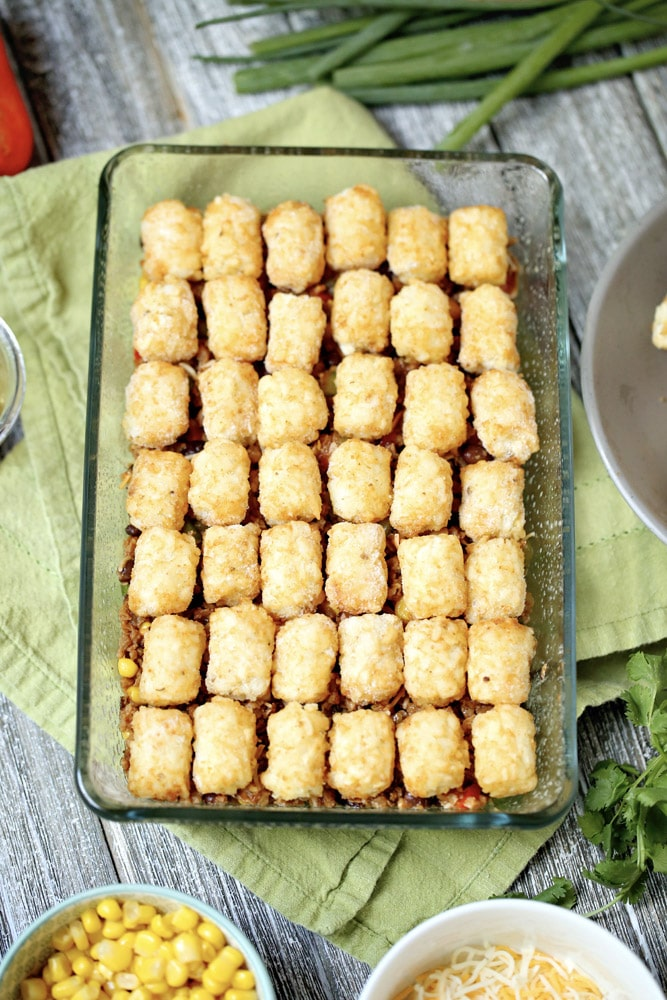 Taco tater tot casserole single layer in baking dish
