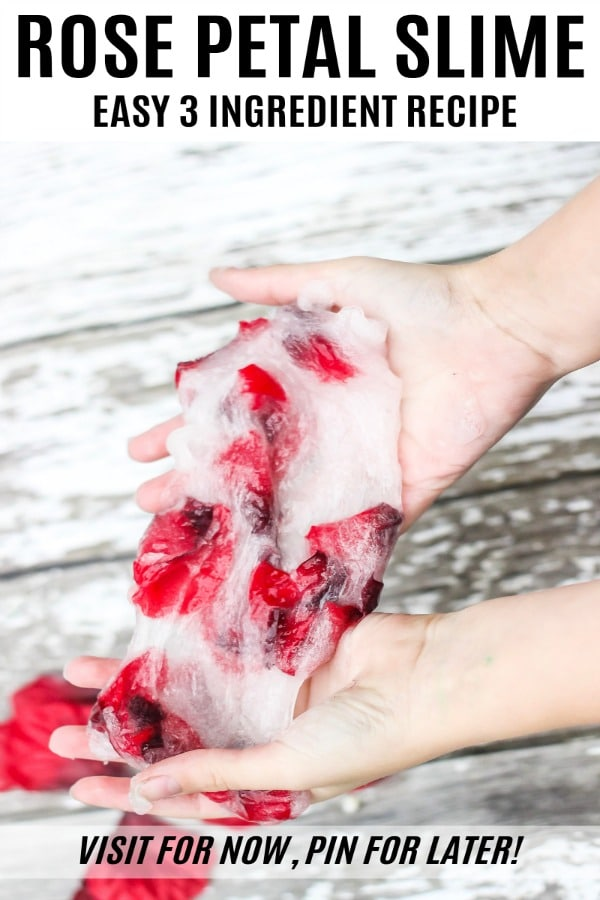 Easy slime recipe. Just 3 ingredients make this borax free slime with rose petals!