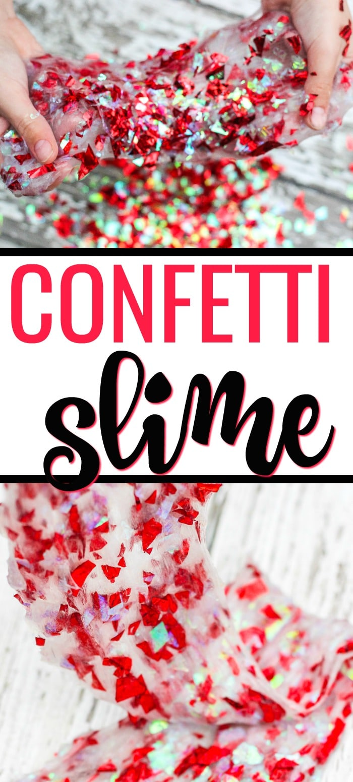 This homemade confetti slime recipe is Borax free and easy for kids to make!