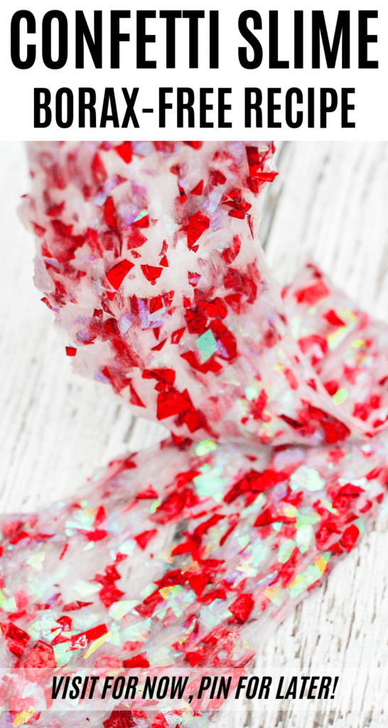 This homemade confetti slime recipe is Borax free and easy for kids to make! Confetti slime has fun textures and sounds.