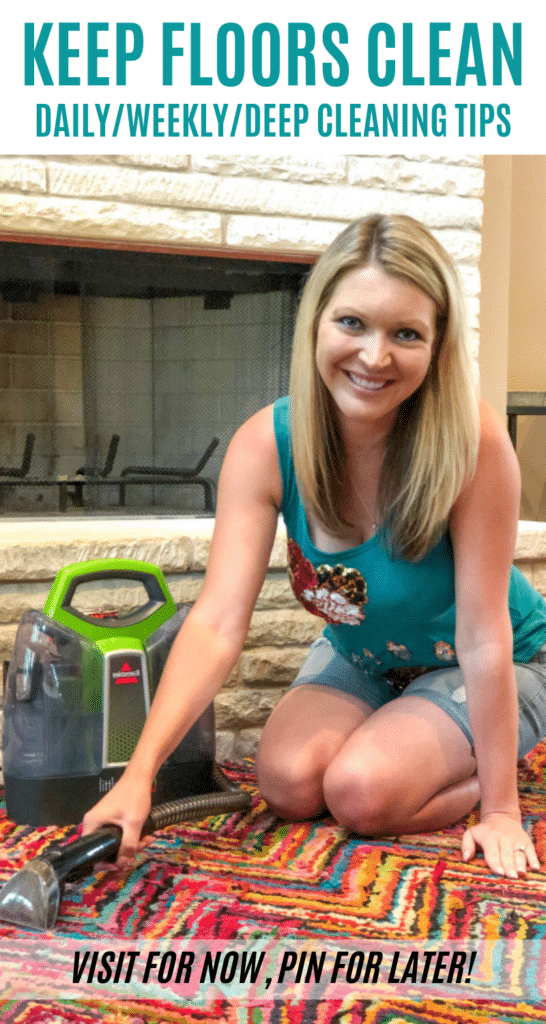 Whether you're renting out your house, preparing for guests, or just want clean floors this is How to Keep Your Floors Clean with Kids and Pets. #ad #pethappens #BISSELL