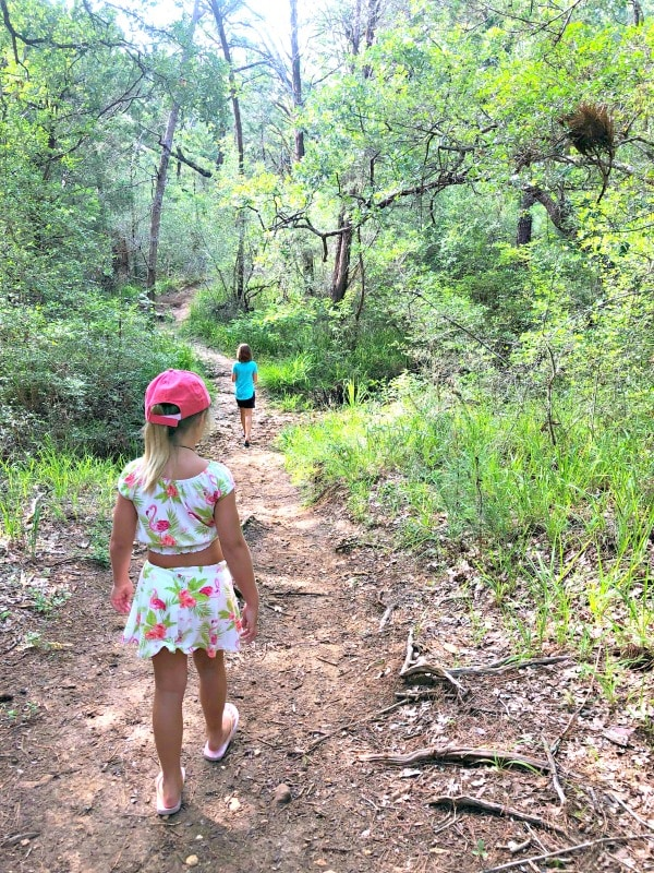 Girls hiking in Buescher State Park