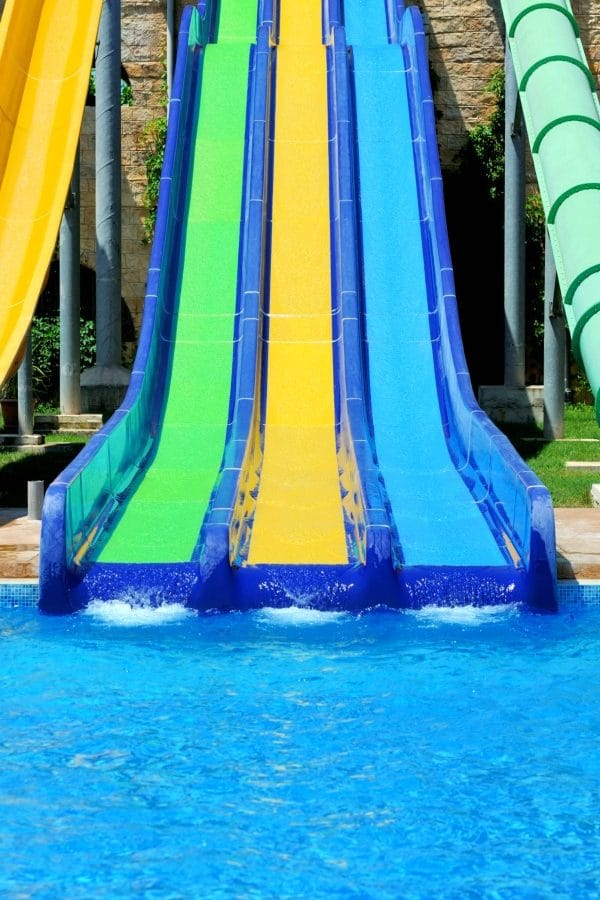 Colorful water slides at the water park.