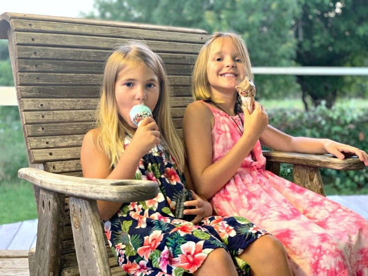 Two girls eating ice cream at the Sugar Shack Bastrop Texas