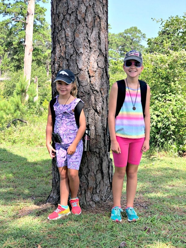 Girls hiking in Bastrop State Park