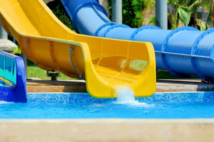 Blue and yellow water slides at the water park
