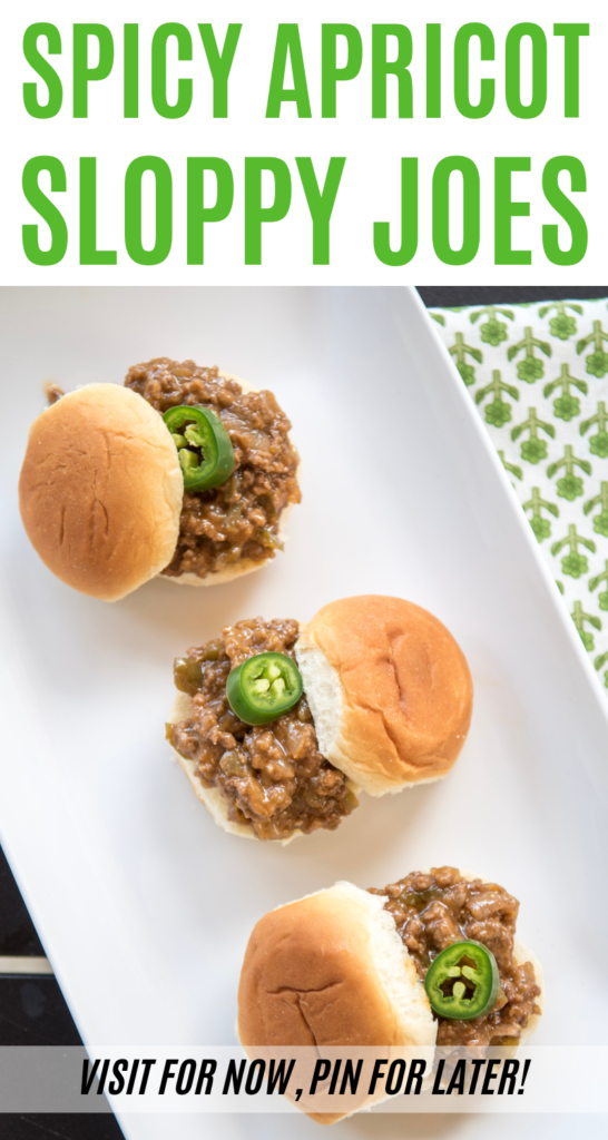 Change up your usual Sloppy Joes with this Spicy Apricot Sloppy Joes recipe! This sweet and spicy ground beef recipe is super easy to make! #sponsored #sloppyjoes #sloppyjoe #groundbeef