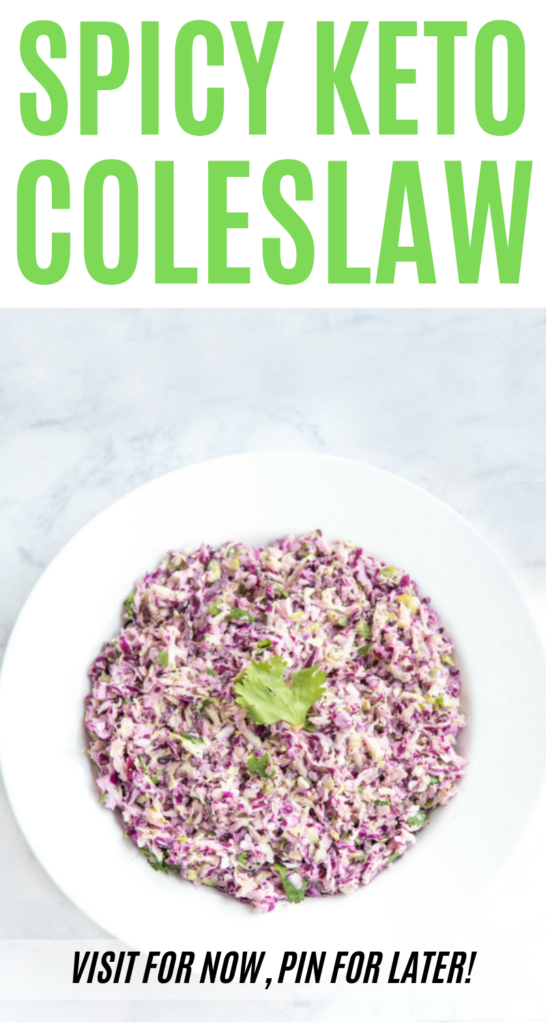 Are you looking for a spicy keto coleslaw? This is the best coleslaw recipe for any diet. It's great on fish tacos or as a <a href=