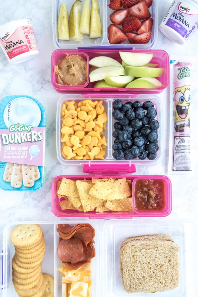 Lunch Box Ideas for Kids - sandwiches, meat and cheese, crackers, pickles, fruits, and yogurt