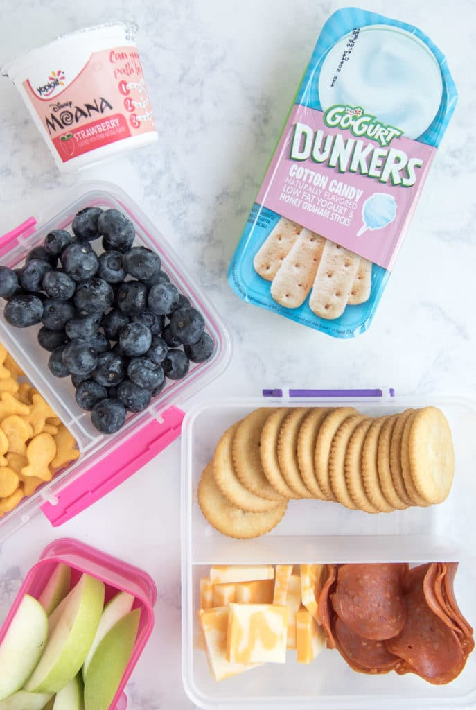 Lunch Ideas for Kids: pepperoni, cheese, fruit, yogurt in bento boxes