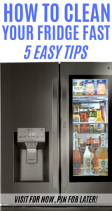 How to Clean Your Fridge in 5 Easy Steps text overlay on top of LG Instaview Refrigerator