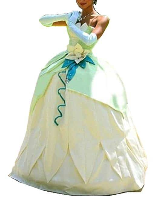 Princess Tiana Cosplay Costume for Women Adult Halloween Party Ball Gown Deluxe Dress