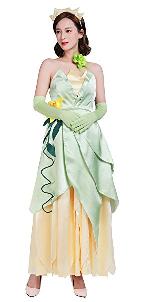 Frog Princess Costume for Women, Deluxe Tiana Cosplay Dress Hand Sewing Leaf Design