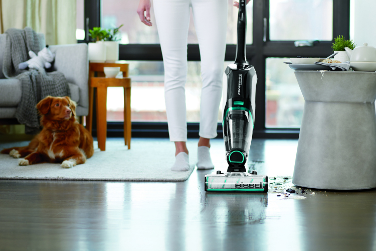 Lazy girl cleaning hack using the Bissell Crosswave to vacuum and mop floors.
