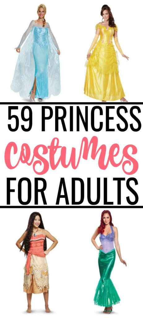 Disney princess costumes for adults collage with Elsa, Belle, Moana, and Ariel