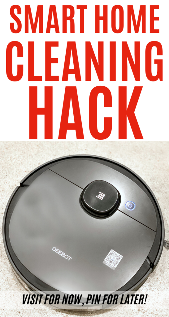 Robotic vacuum on concrete floor with text overlay identifying smart home cleaning hack.