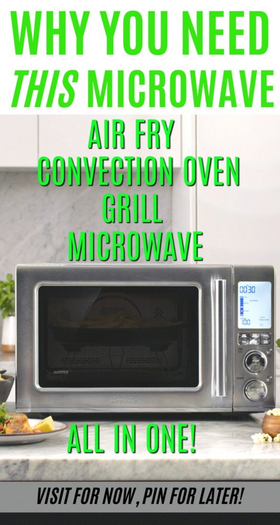 Breville convection microwave with text overlay of features like grill, roast, and air fry.