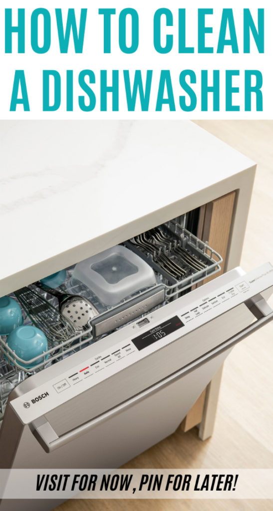 Open dishwasher with clean dishes inside.