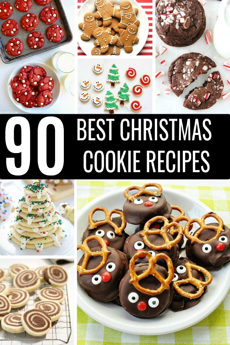 Red velvet cookies, shortbread cookies, Christmas Tree cookies, reindeer cookies, peppermint cookies, and gingerbread cookies in a collage.