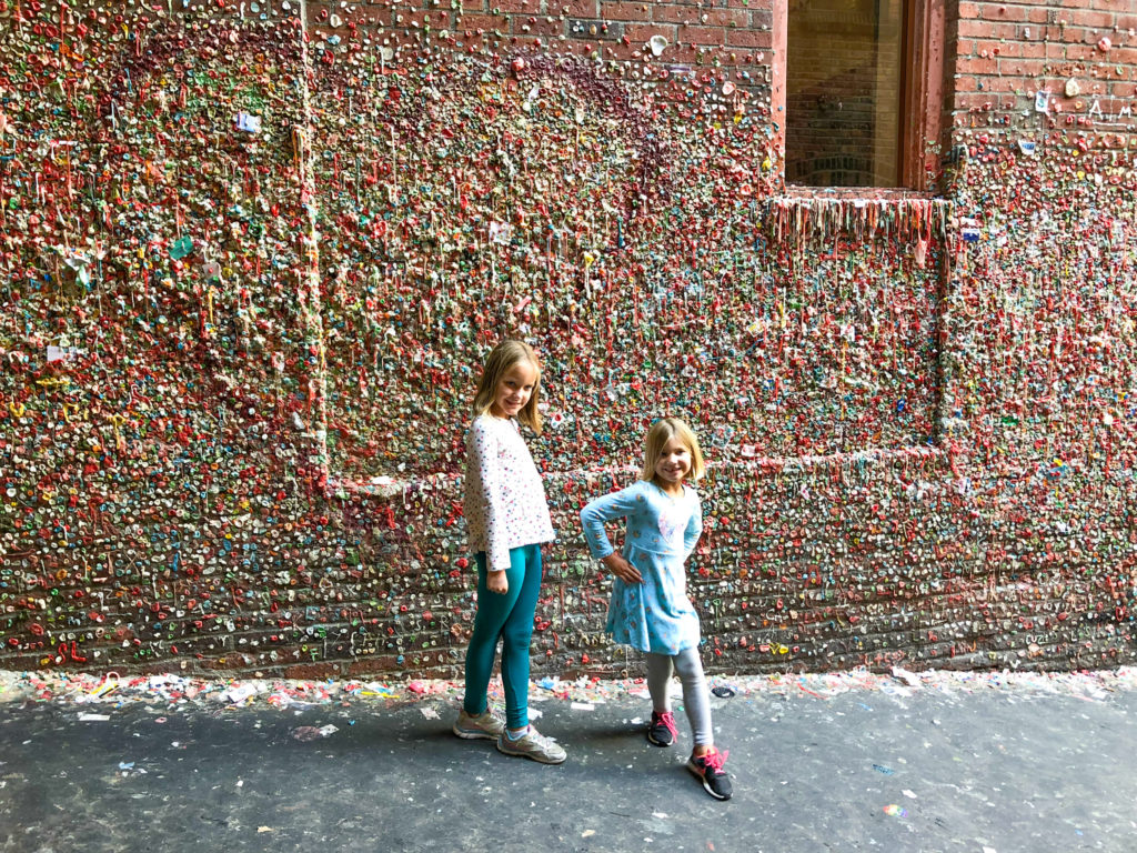 Sisters in front of Seattle Gum Wall