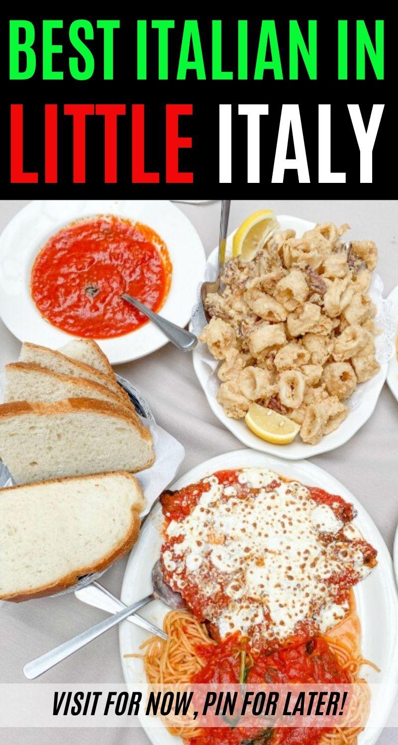 Italian food on table from the best Italian restaurant in Little Italy
