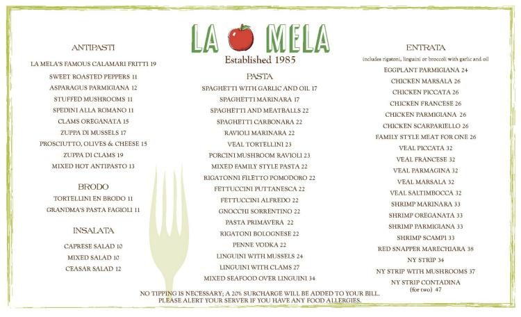 La Mela restaurant menu