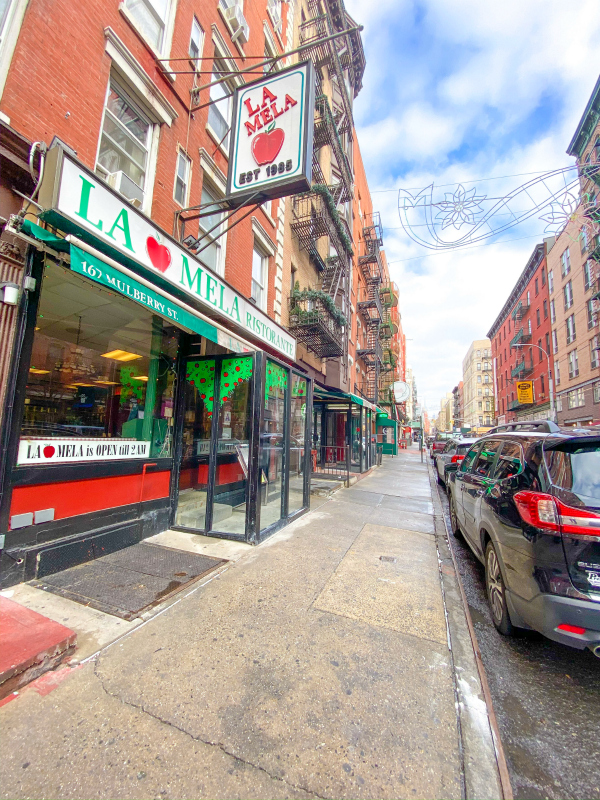 La Mela Italian restaurant exterior in Little Italy New York City