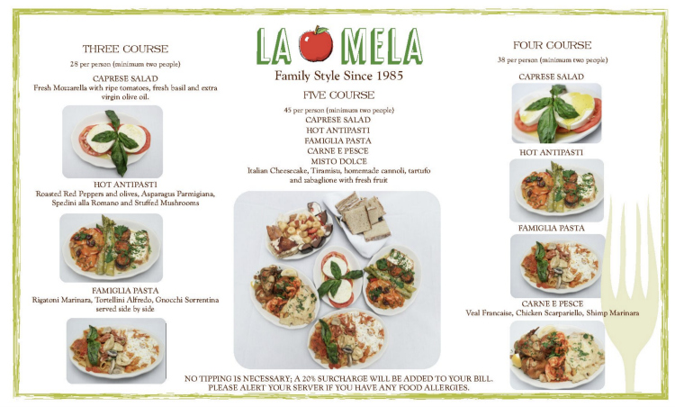 La Mela restaurant menu with photos