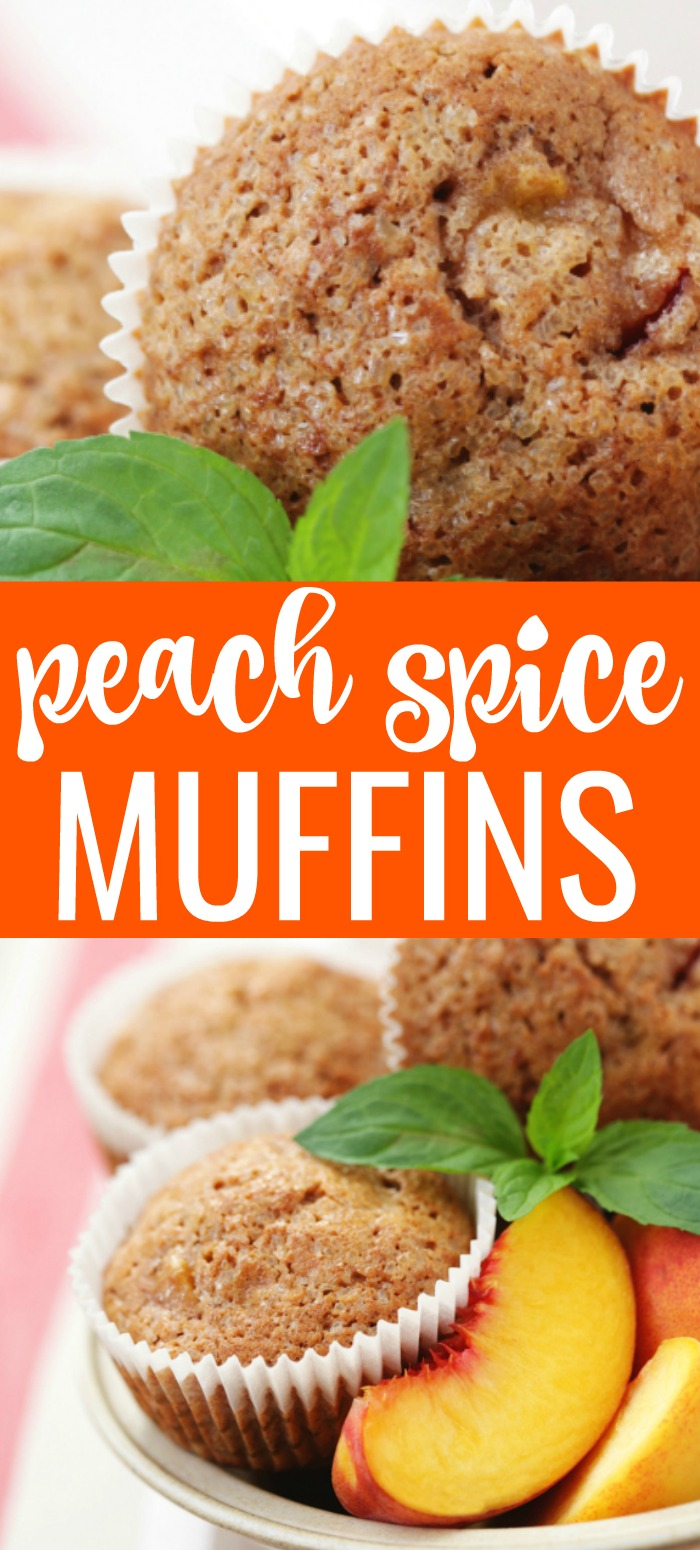 Peach spice muffins on a plate with fresh peaches and text overlay