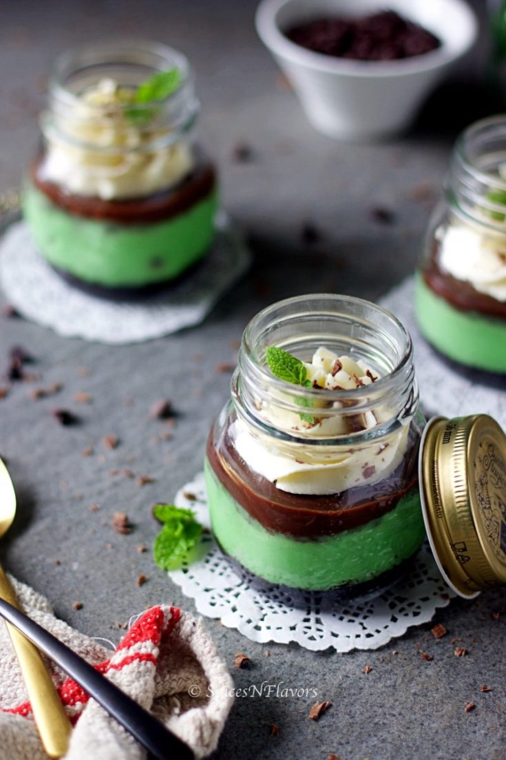 Instant Pot Mint Choco-chip Cheesecake in a Jar