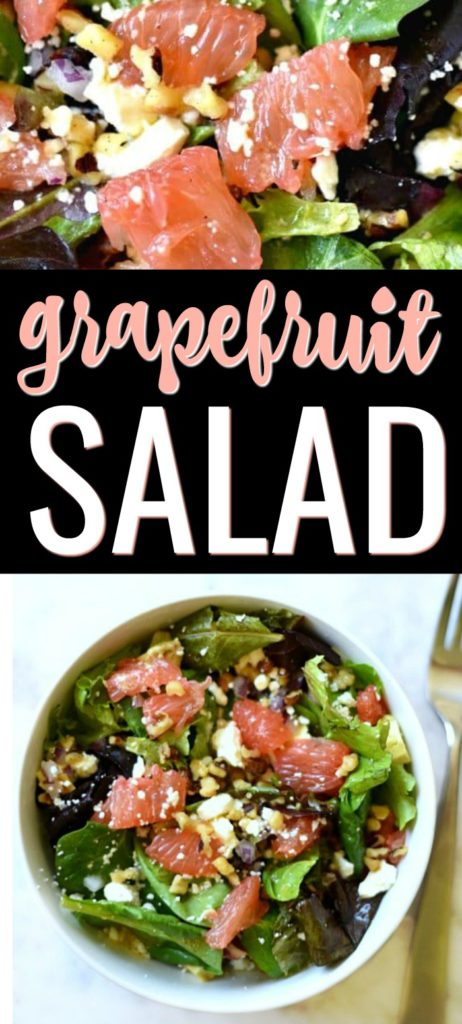 Green salad topped with grapefruit, onions, feta cheese, and walnuts topped in a white bowl.