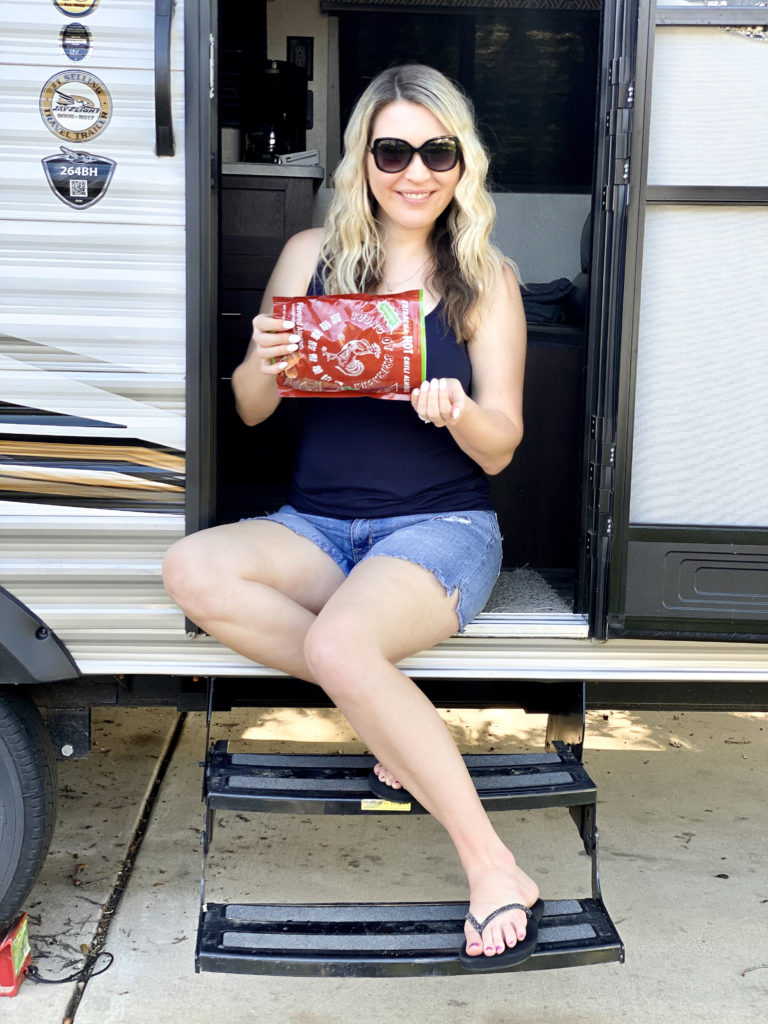 woman-in-rv-eating-almonds