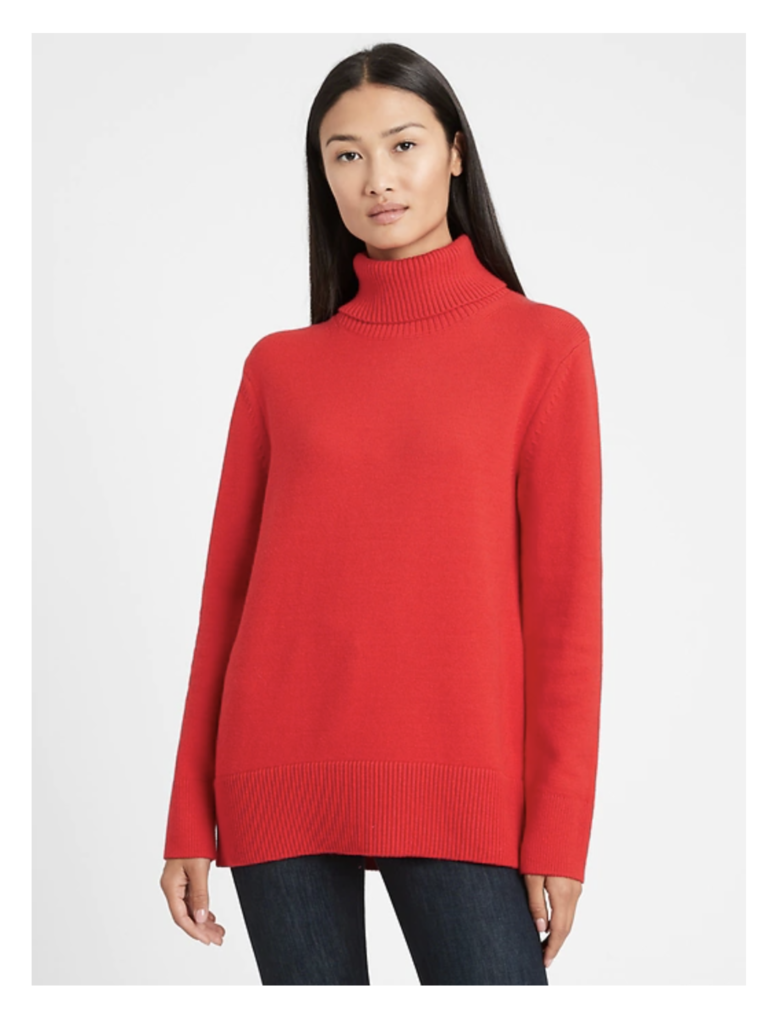 Banana Republic Relaxed Chunky Turtleneck Sweater in Chili Pepper Red