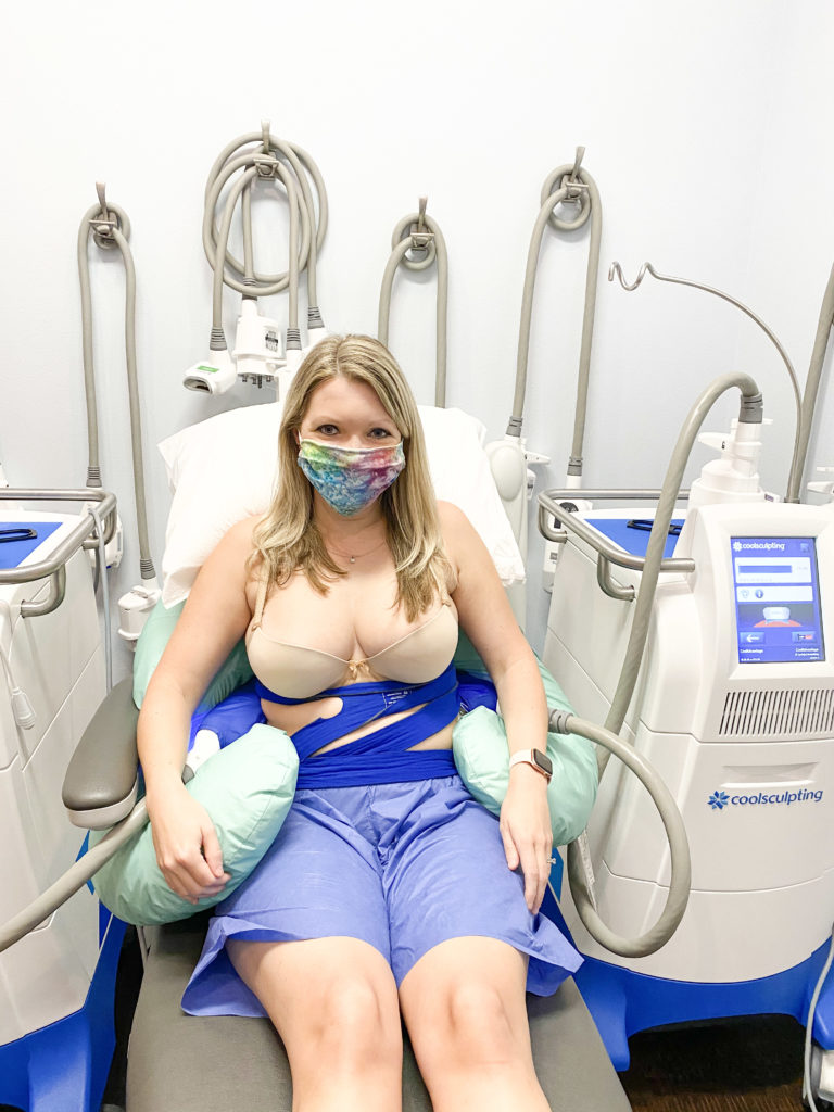 Woman getting Coolsculpting treatment